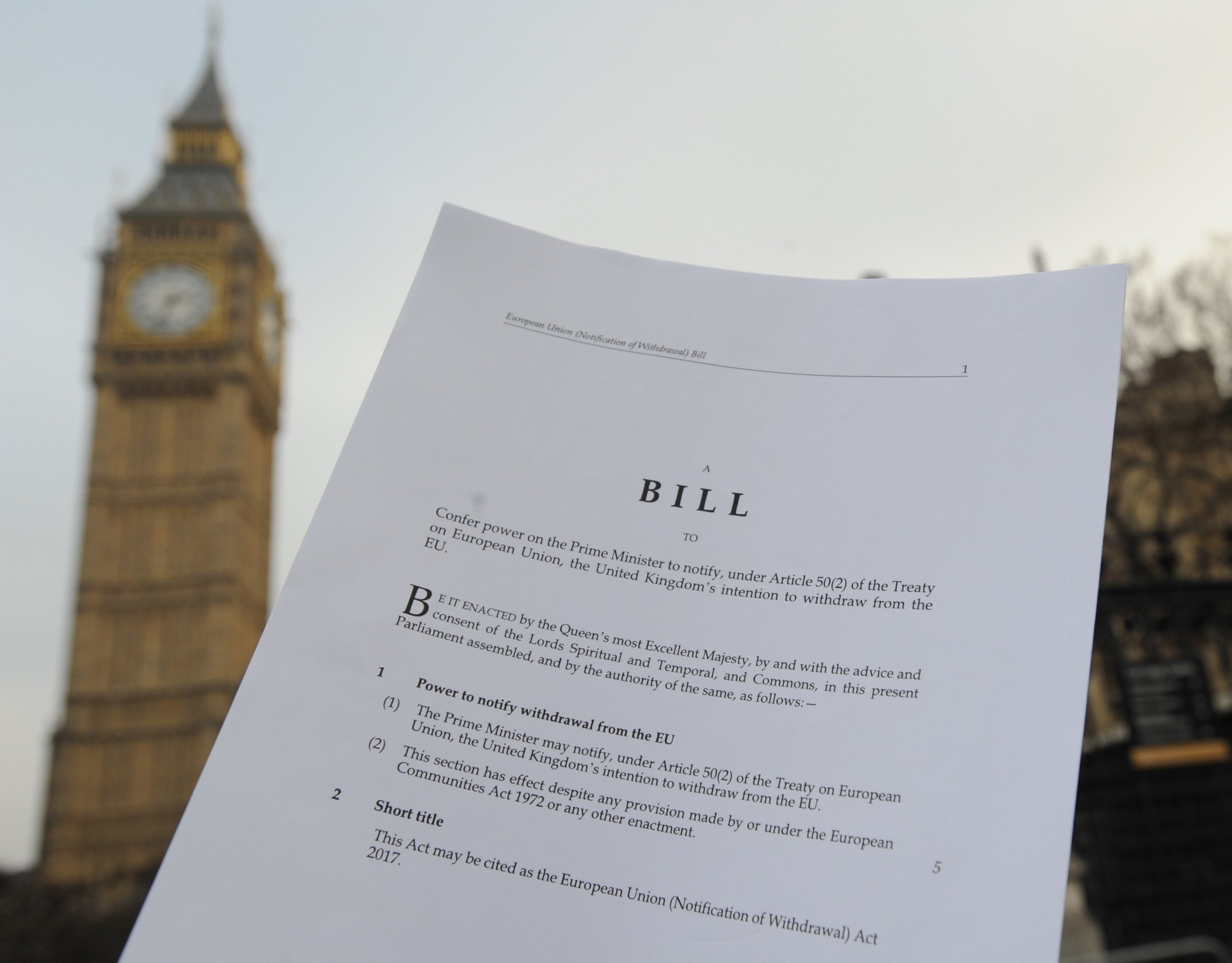A copy of the Bill to trigger article 50, in front of the Houses of the Parliament in London. PRESS ASSOCIATION Photo. Picture date: Thursday January 26, 2017. The European Union (Notification of Withdrawal) Bill will face its first test next week, with debates on Tuesday and Wednesday. See PA story POLITICS Brexit. Photo credit should read: Nick Ansell/PA Wire