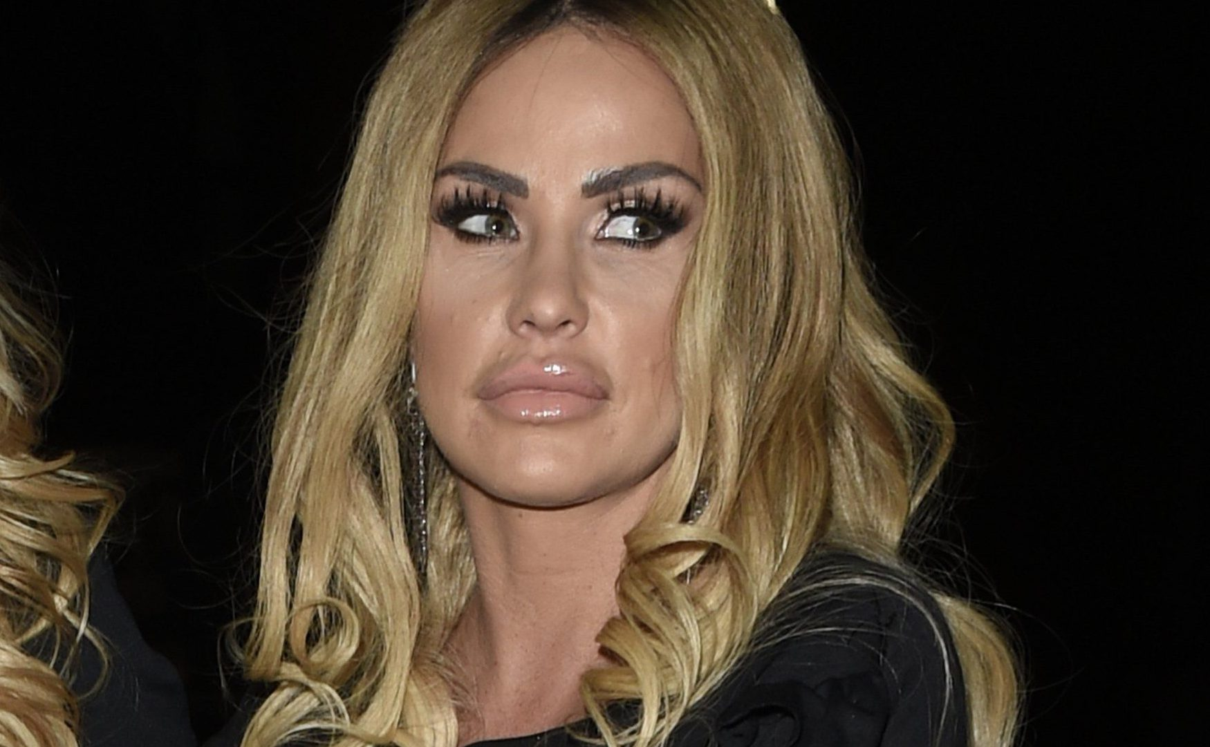 Katie Price has shared a new Instagram video revealing how she got her bee-stung lips in Manchester (Picture: XPOSUREPHOTOS.com)