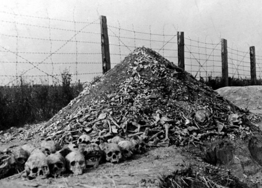 Human bones at the concentration camp of Majdanek in Lublin