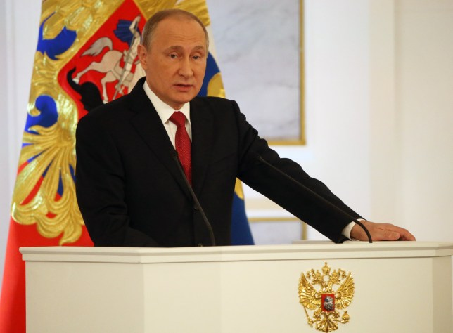 RUSSIA, MOSCOW - DECEMBER 1: (RUSSIA OUT) Russian President Vladimir Putin delivers his annual speech to the Federal Assembly at Grand Kremlin Palace on December, 1, 2016 in Moscow, Russia. Putin spoke favorably towards future bilateral ties with the US once Donald Trump takes office in January. (Photo by Mikhail Svetlov/Getty Images)