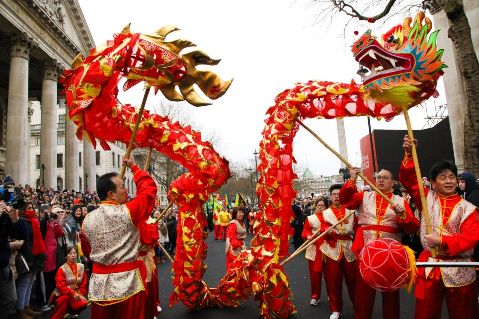 Costumed performers take part in the Chinese New Year Parade in central London, along Charing Cross Road and Chinatown, with further celebrations in Trafalgar Square to celebrate the Year of Rooster, the biggest celebration outside of Asia. The event is organised by London Chinatown Chinese Association. Featuring: Atmosphere Where: London, United Kingdom When: 29 Jan 2017 Credit: Dinendra Haria/WENN.com
