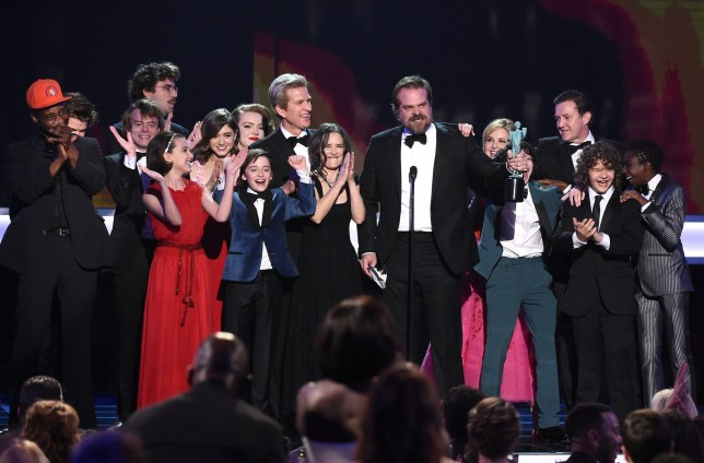 Mandatory Credit: Photo by Buckner/Variety/REX/Shutterstock (8137133dn) Millie Bobby Brown, Noah Schnapp, Matthew Modine, Winona Ryder, David Harbour, Cara Buono, Finn Wolfhard, Gaten Matarazzo and Caleb McLaughlin The 23rd Annual Screen Actors Guild Awards, Show, Los Angeles, USA - 29 Jan 2017
