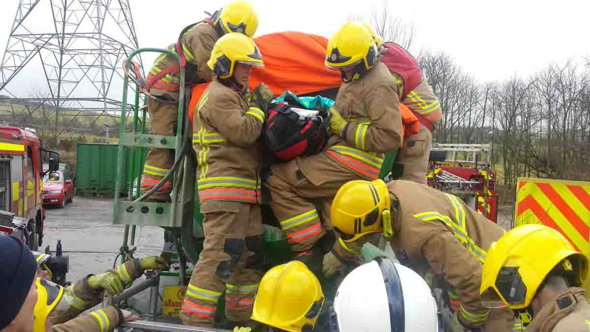 A man had to be rescued after falling into an industrial cement mixer in Durham yesterday. nFirefighters had to cut open the cement mixer to get the man out and paramedics treated him at the scene before taking him to hospital. nThe cement mixer was parked on Hamsteels Lane, between Lanchester and Langley Park, in North West Durham, but it is not yet known how the man ended up inside it. nnMan rescued from cement mixer by CDD Fire and Rescue