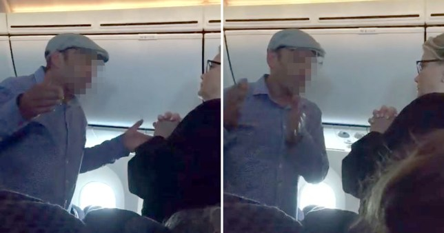 (Picture: Anjou Ahlborn Kay/ Facebook) Police drag irate man, 42, off a plane after he goes on 'racist, homophobic and misogynistic' rant against passengers and crew