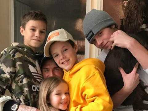 Is this the cutest photo of the Beckham family you've ever seen? (Sorry, Victoria)