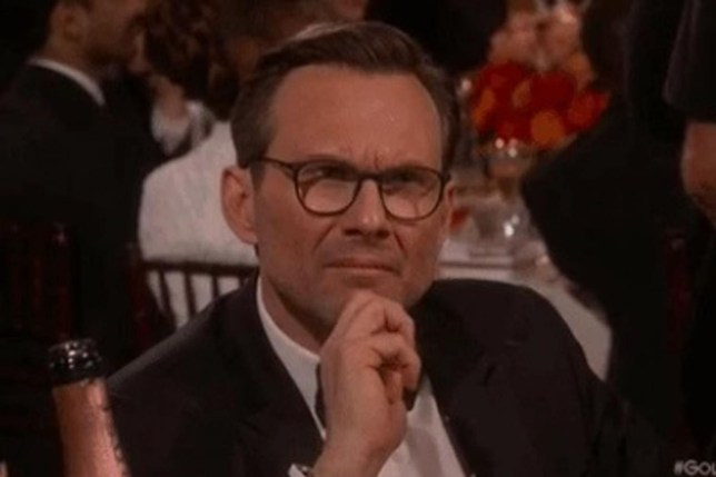Christian Slater is not impressed. (Picture: Golden Globes)