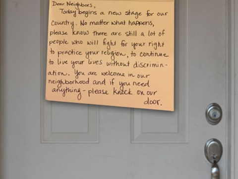Muslim man finds touching note left on his door during Trump's inauguration