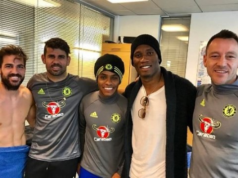 Chelsea legend Didier Drogba pictured with Diego Costa and John Terry on Cobham return