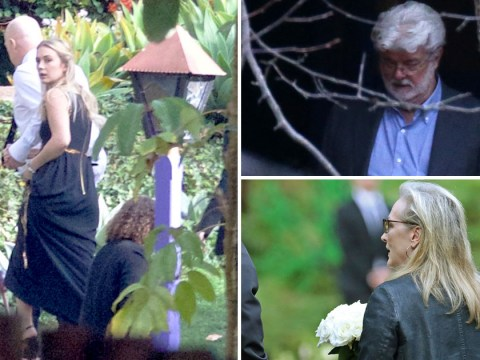 Meryl Streep, Gwyneth Paltrow and George Lucas attend Carrie Fisher and Debbie Reynolds' private memorial service