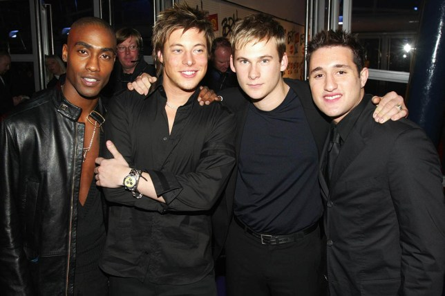 """LONDON - FEBRUARY 20: British boy band members Simon Webbe (Left), Duncan James (centre left), Lee Ryan (centre right) and Antony Costa (right) of """"Blue"""" arrive at the Brit Awards at Earls Court on February 20, 2002 in London. (Photo by Dave Hogan/Getty Images)"""