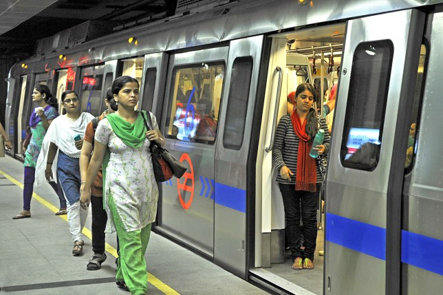 Women using the Delhi Metro will can now have a knife on them (Picture: Sonu Mehta/Hindustan Times)