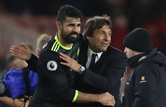 MIDDLESBROUGH, ENGLAND - NOVEMBER 20: Diego Costa of Chelsea celebrates with Chelsea manager Antonio Conte during the Premier League match between Middlesbrough and Chelsea at Riverside Stadium on November 20, 2016 in Middlesbrough, England. (Photo by Ian MacNicol/Getty Images)