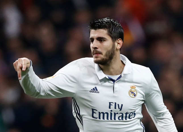 MADRID, SPAIN - DECEMBER 10: Alvaro Morata of Real Madrid celebrates after scoring during the La Liga match between Real Madrid CF and RC Deportivo La Coruna on December 10, 2016 in Madrid, Spain. (Photo by Helios de la Rubia/Real Madrid via Getty Images)