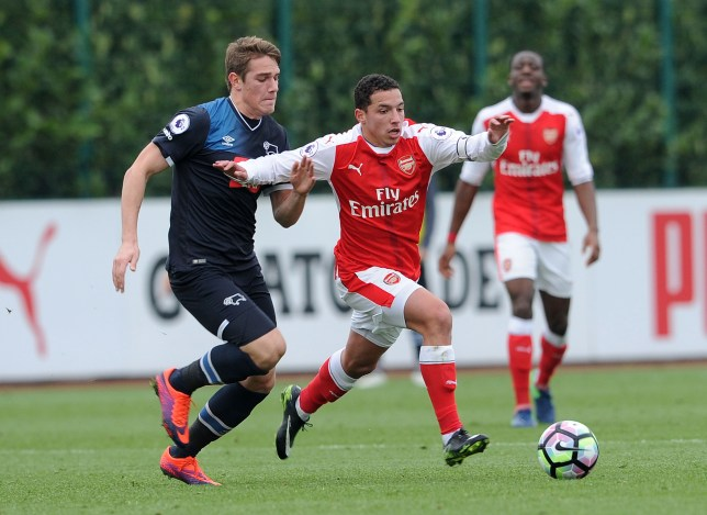 ST ALBANS, ENGLAND - JANUARY 06: Ismael Bennacer of Arsenal takes on Timi-Max Elsnik of Derby during the match between Arsenal U23 and Derby County U23 at London Colney on January 6, 2017 in St Albans, England. (Photo by David Price/Arsenal FC via Getty Images)