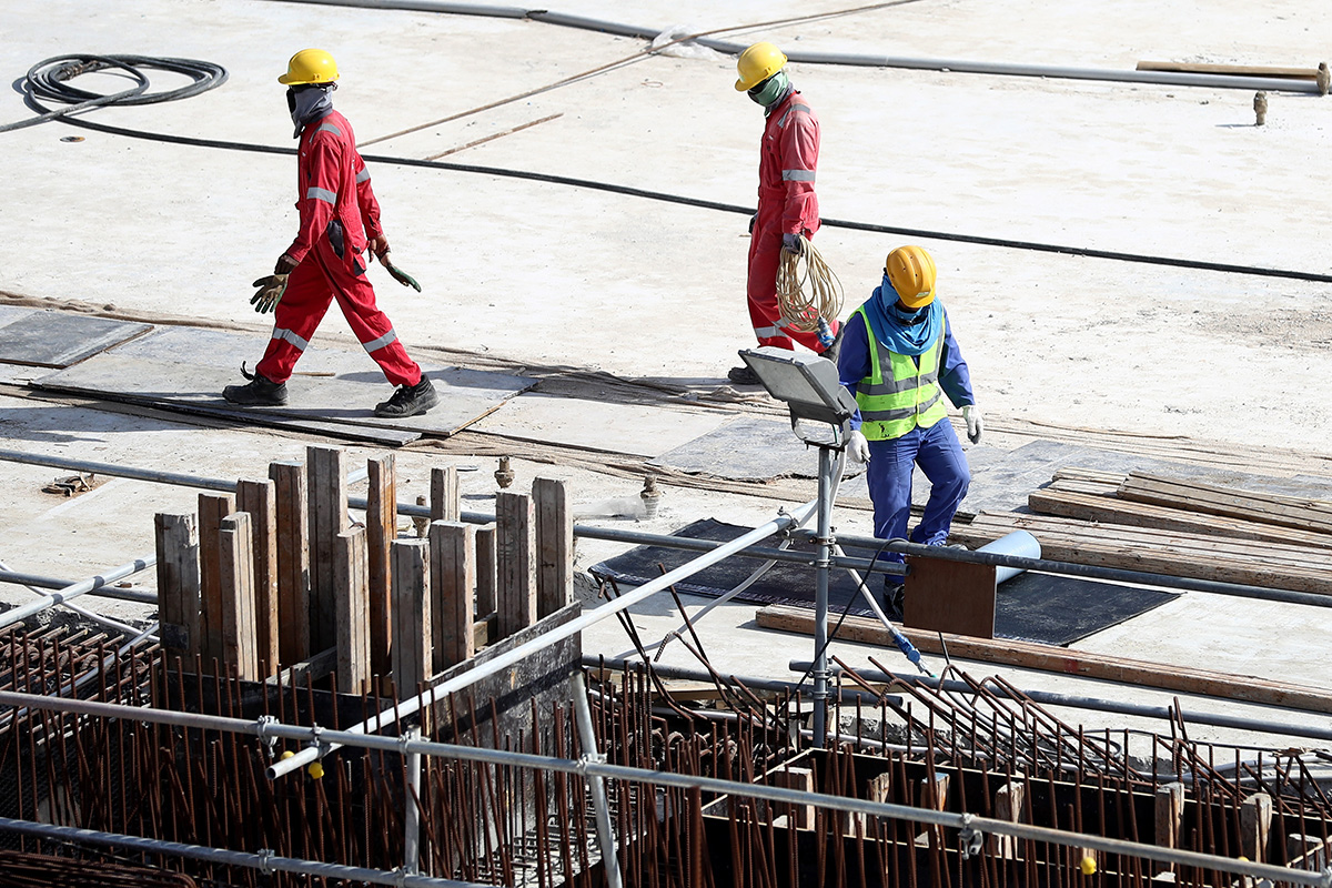 A British man has died while working on a stadium for the 2022 World Cup, organisers said. getty DOHA, QATAR - JANUARY 09: Workers are seen during a tour at the construction site of the Al Bayt Stadium and the workers accommodation on January 9, 2017 in Doha, Qatar. Al Bayt Stadium will be a host venue for the 2022 FIFA World Cup Qatar, which will have a capacity of 60,000 and host matches through to the semi-final round. (Photo by Lars Baron/Bongarts/Getty Images)