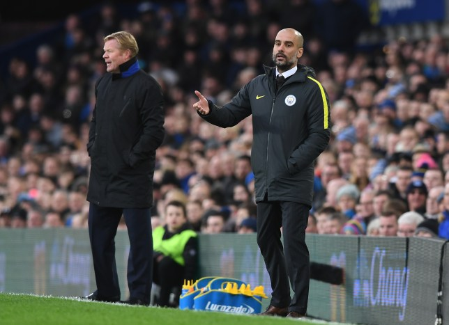 LIVERPOOL, ENGLAND - JANUARY 15: (R-L) Josep Guardiola, Manager of Manchester City reacts as Ronald Koeman, Manager of Everton looks on during the Premier League match between Everton and Manchester City at Goodison Park on January 15, 2017 in Liverpool, England. (Photo by Michael Regan/Getty Images)