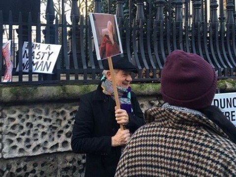 Sir Ian McKellen's Captain Picard facepalm sign at the Women's March is incredible