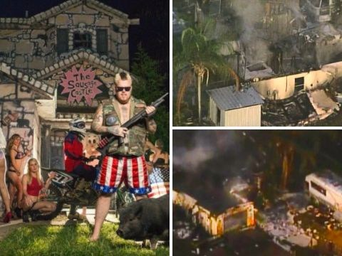 Notorious sex party mansion 'Sausage Castle' completely destroyed in fire