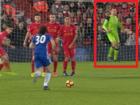 Proof Liverpool goalkeeper Simon Mignolet was at fault for Chelsea's opening goal