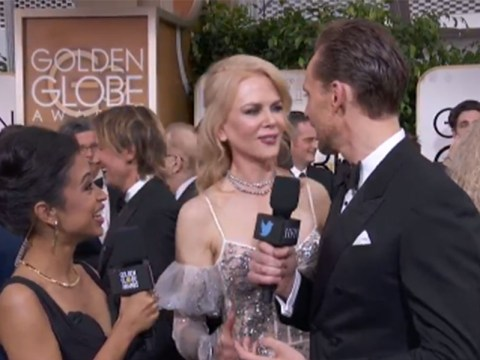 Nicole Kidman interrupted Tom Hiddleston on the Golden Globes red carpet and it was all a bit awkward