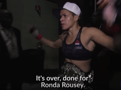 Video: Amanda Nunes declared Ronda Rousey retired minutes after UFC 207 victory