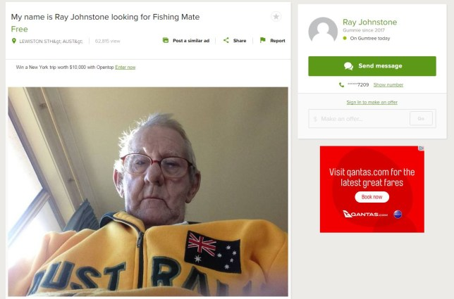 AUSSIE WIDOWER POSTS GUMTREE AD LOOKING FOR A FISHING MATE & WE CAN'T COPE