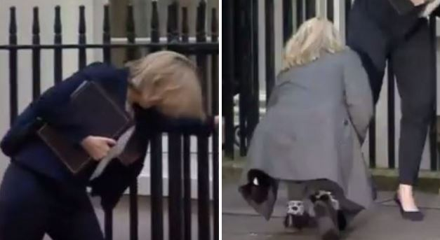 Home Secretary gets heel stuck in pavement while walking to Number 10