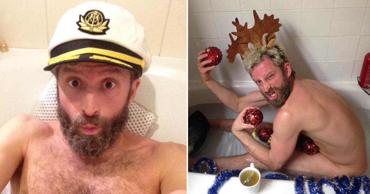 Guy takes baths in strangers' homes