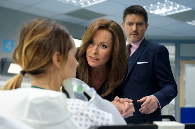 Programme Name: Casualty 30 - Series 31 - TX: 25/02/2017 - Episode: Casualty 30 24 (No. 25) - Picture Shows: Steph Sims (TONICHA LAWRENCE) Connie Beauchamp (AMANDA MEALING), Sam Strachan (TOM CHAMBERS) - (C) BBC - Photographer: Alistair Heap