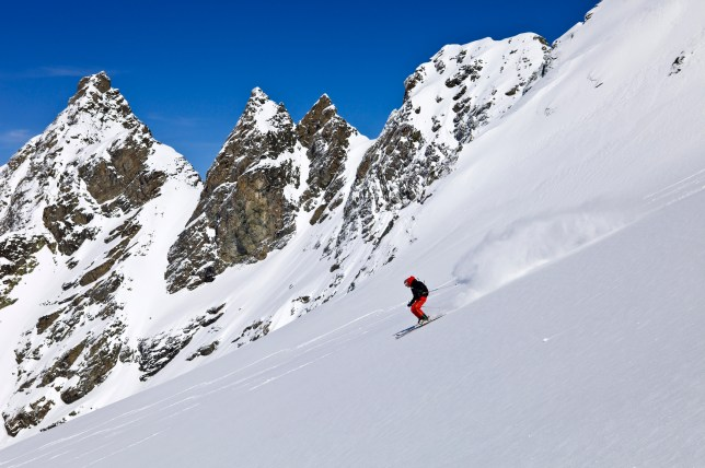 France, Savoie, Massif de La Vanoise, La Tarentaise Valley, 3 Vallees ski area, Meribel, descent in powder snow after off-piste skiing on the Glacier du Borgne