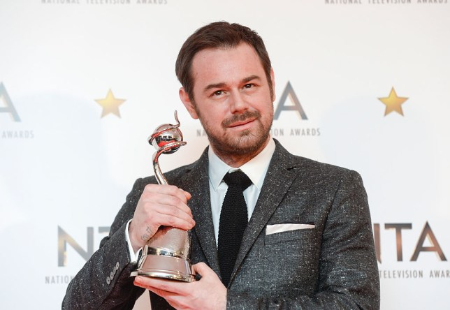 LONDON, ENGLAND - JANUARY 21: Danny Dyer, winner of the Serial Drama Performance award, poses in the winners room at the National Television Awards at 02 Arena on January 21, 2015 in London, England. (Photo by David M. Benett/Getty Images)