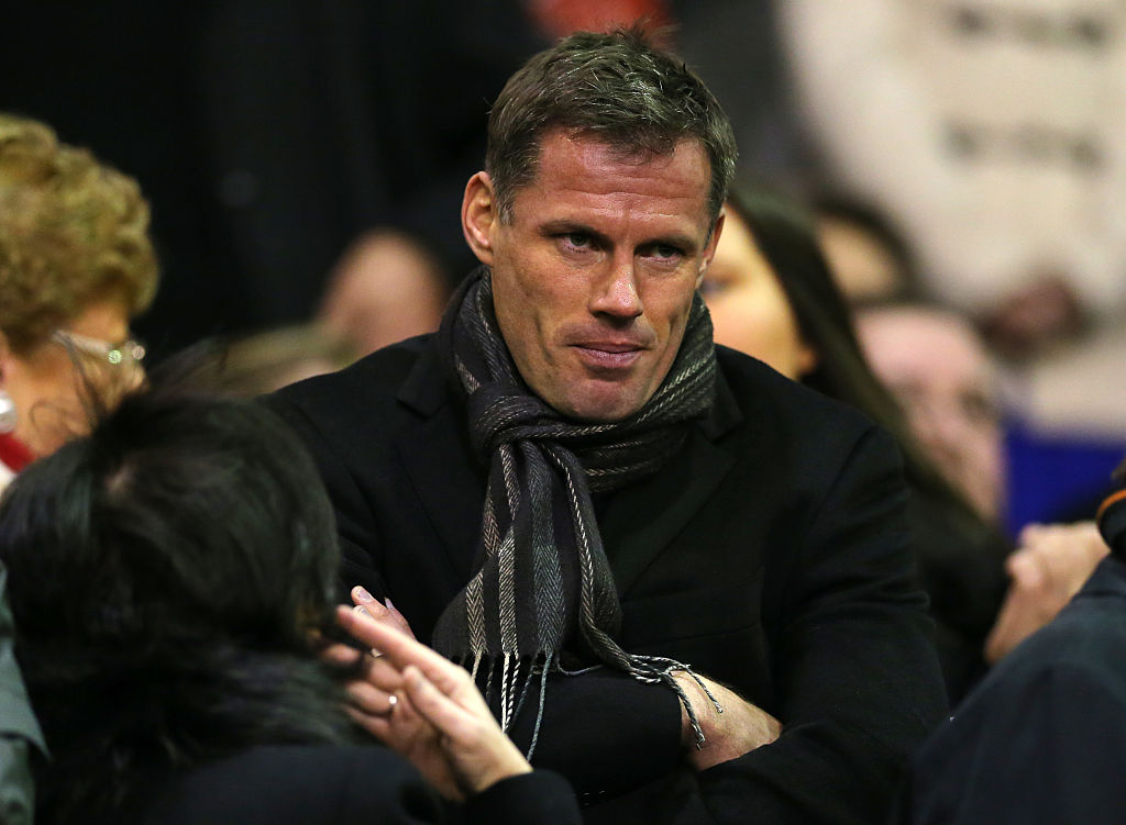 Former Liverpool player Jamie Carragher at the game (Photo by AMA/Corbis via Getty Images)