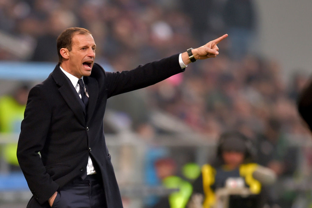 "Juventus' coach from Italy Massimiliano Allegri gestures during the Italian Serie A football match Sassuolo vs Juventus at ""Mapei Stadium"" in Reggio Emilia on January 29, 2017.  / AFP / GIUSEPPE CACACE        (Photo credit should read GIUSEPPE CACACE/AFP/Getty Images)"