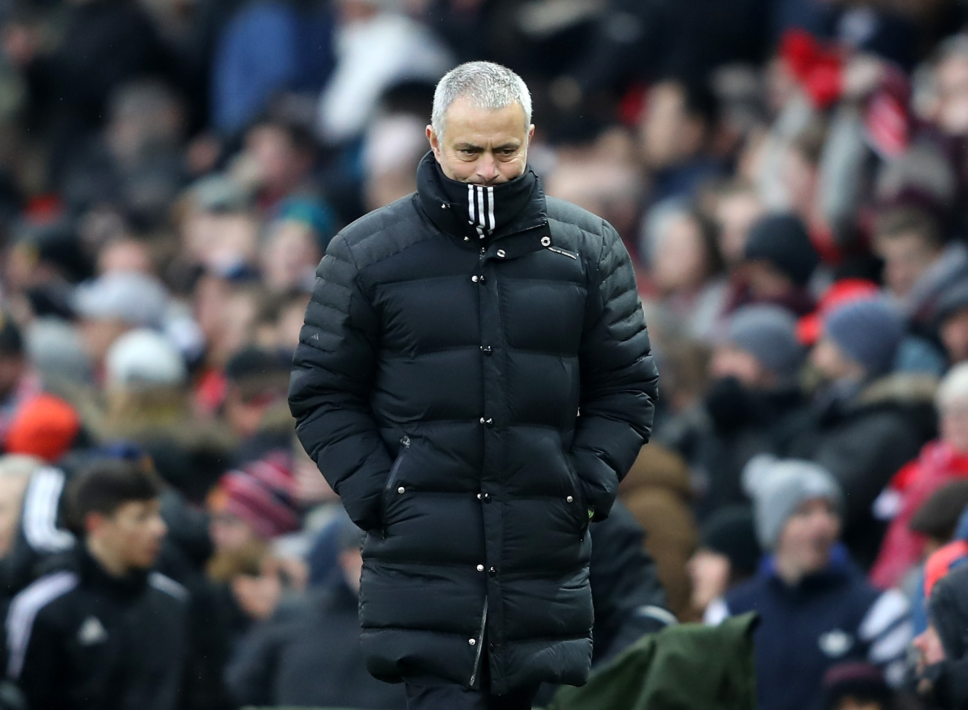 MANCHESTER, ENGLAND - FEBRUARY 11: Jose Mourinho, Manager of Manchester United looks on at the half time during the Premier League match between Manchester United and Watford at Old Trafford on February 11, 2017 in Manchester, England. (Photo by Mark Thompson/Getty Images)