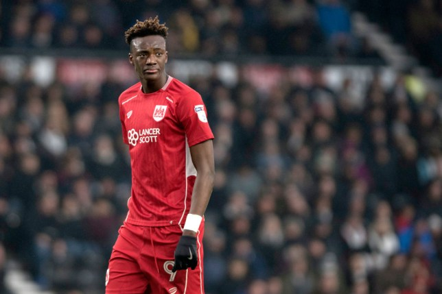 DERBY, ENGLAND - FEBRUARY 11: Tammy Abraham of Bristol City looks on during the Sky Bet Championship match between Derby County and Bristol City at the iPro Stadium on February 11, 2017 in Derby, England (Photo by Nathan Stirk/Getty Images)
