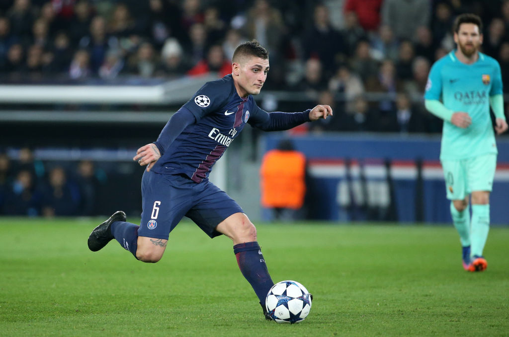 PARIS, FRANCE - FEBRUARY 14: Marco Verratti of PSG in action during UEFA Champions League Round of 16 first leg match between Paris Saint-Germain and FC Barcelona at Parc des Princes on February 14, 2017 in Paris, France. (Photo by Jean Catuffe/Getty Images)