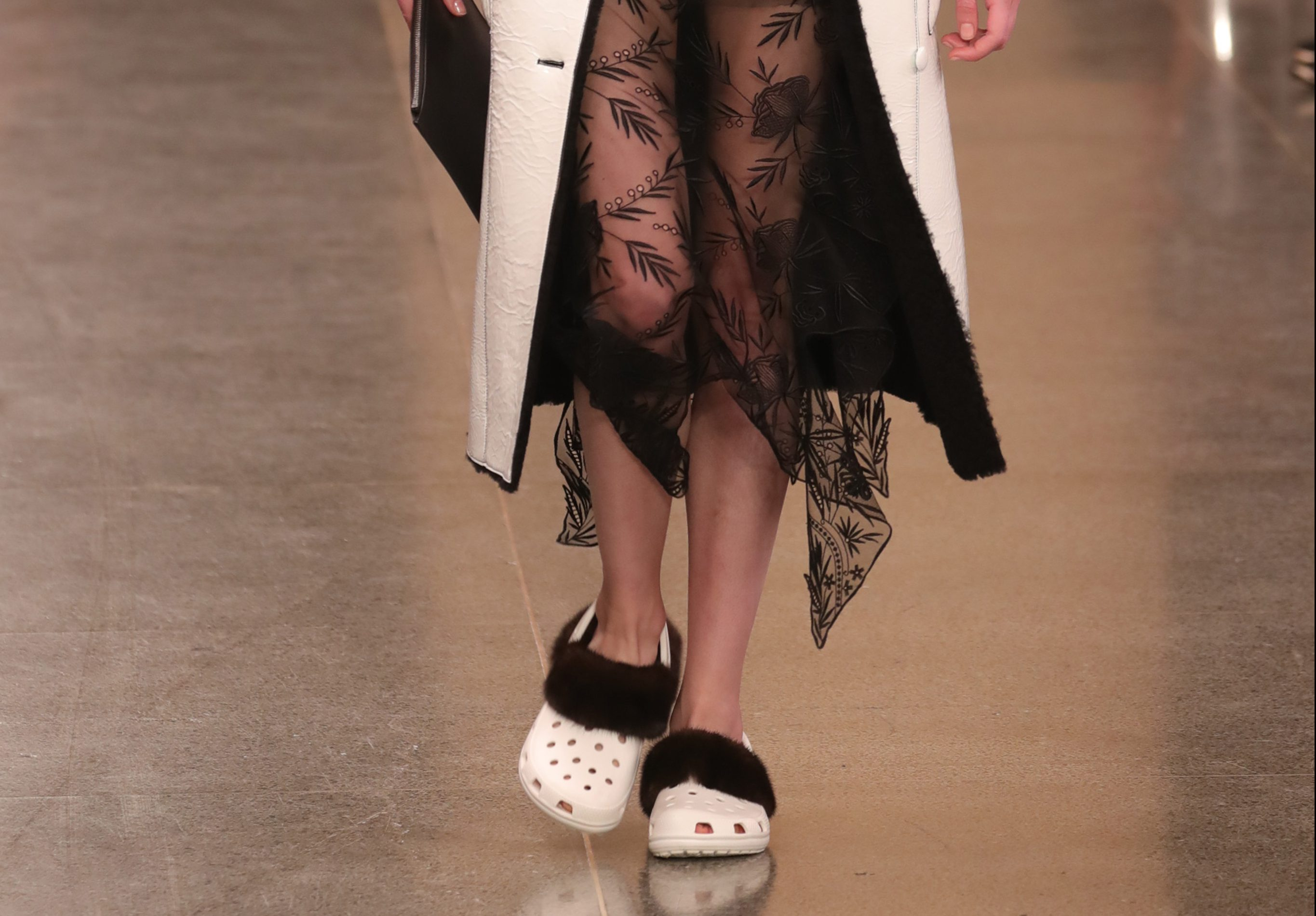 Christopher Kane is trying to make furry Crocs fashionable