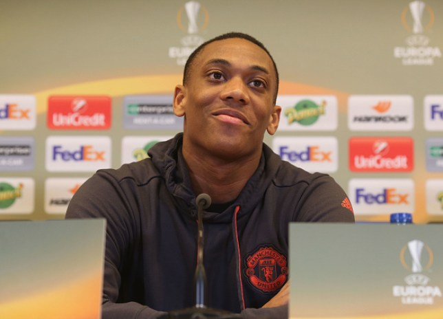 SAINT-ETIENNE, FRANCE - FEBRUARY 21: Anthony Martial of Manchester United speaks during a press conference at Stade Geoffroy-Guichard on February 21, 2017 in Saint-Etienne, France. (Photo by Tom Purslow/Man Utd via Getty Images)