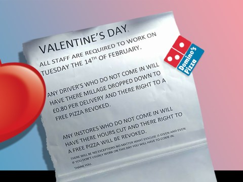Someone at Domino's Pizza is feeling pretty bitter about Valentine's Day