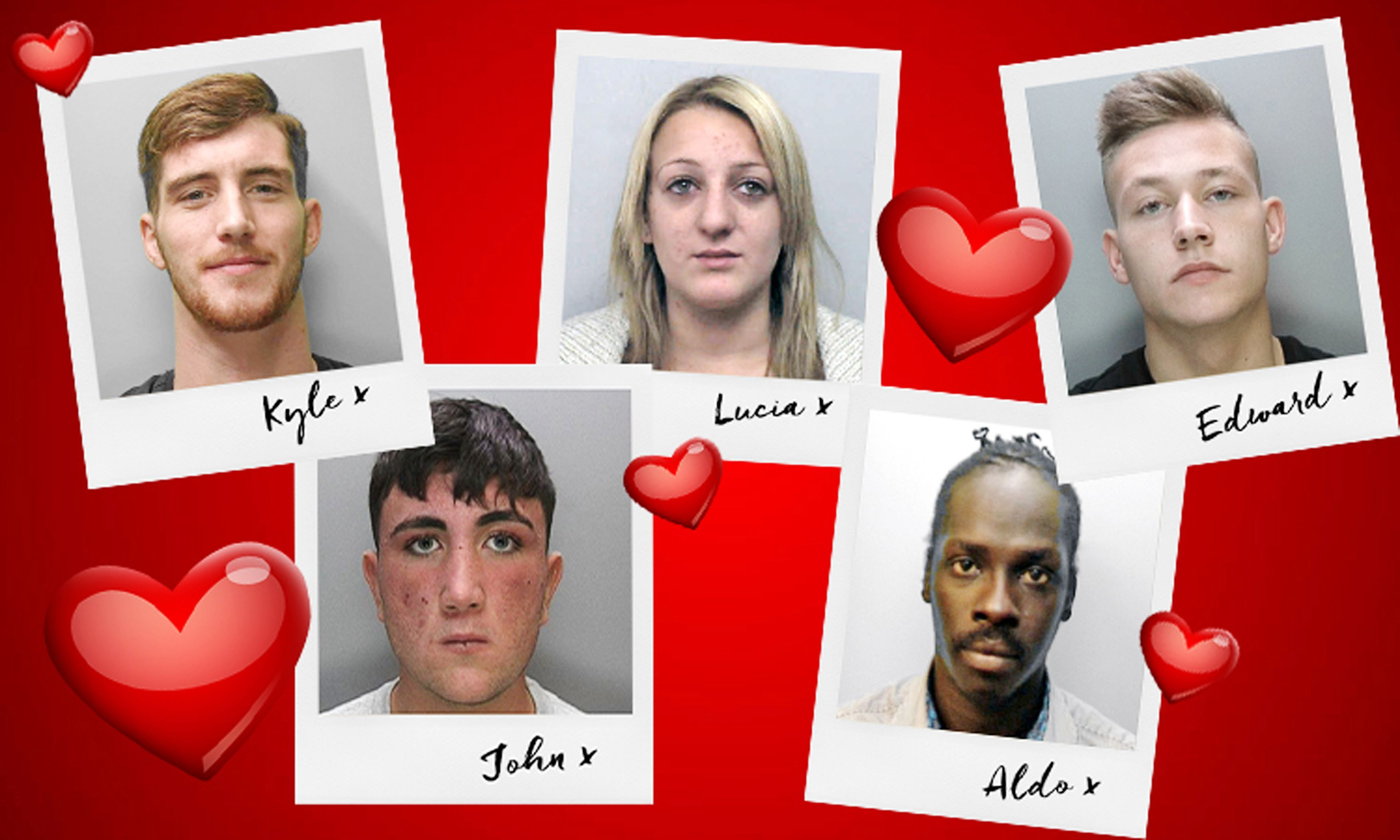 LIMITED LICENCE TO USE IMAGE 90 DAYS FROM ISSUE DATE FOR CONTEMPORANEOUS ILLUSTRATION OF EVENT ONLY Undated handout photo issued by Sussex Police of a composite photo of (left-right) Kyle Gilmore, 23, John Casey, 18, Lucia Biffi, 26, Aldo Oringa, 31 and Edward Stokes, 19 who feature on their tongue-in-cheek love messages on Valentine's Day to a series of people on their most wanted list. PRESS ASSOCIATION Photo. Issue date: Tuesday February 14, 2017. Sussex Police asked for a date with five people they are looking to speak to, and mocked up a card featuring their mugshots surrounded by love hearts. See PA story POLICE Valentines. Photo credit should read: Sussex Police/PA Wire NOTE TO EDITORS: The image provided remains the property of Sussex Police. It is provided for the explicit purpose of journalistic coverage and commentary, in the public interest, in relation to locating the featured person who is wanted by police. You are granted limited license to use the material for this purpose for 90 days from the date it is provided or upon being notified on this website that the person has been arrested, whichever is the sooner. You may also re-distribute it for this purpose at zero cost to the receiver, provided it is clearly marked as belonging to Sussex Police and this notice remains. This handout photo may only be used in for editorial reporting purposes for the contemporaneous illustration of events, things or the people in the image or facts mentioned in the caption. Reuse of the picture may require further permission from the copyright holder.