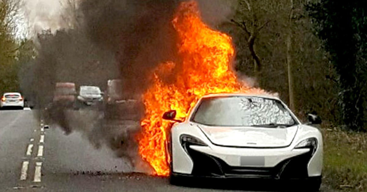 Woman's £215K McLaren supercar bursts into flames after trip to supermarket