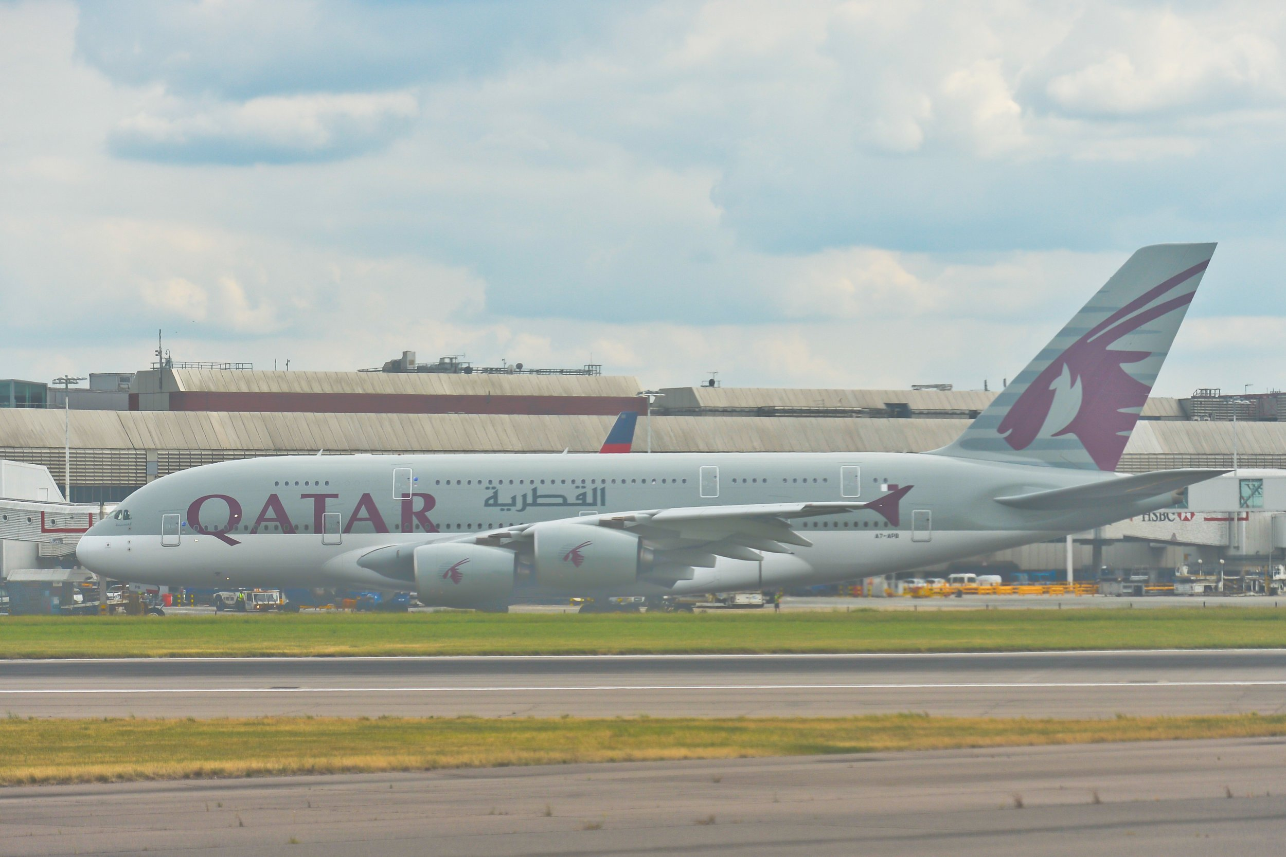 A view of Qatar Airways plane, the state-owned flag carrier of Qatar, at London Heathrow Airport. On Thursday, 21 July 2016, in Heatrow, United Kingdom. (Photo by Artur Widak/NurPhoto via Getty Images)