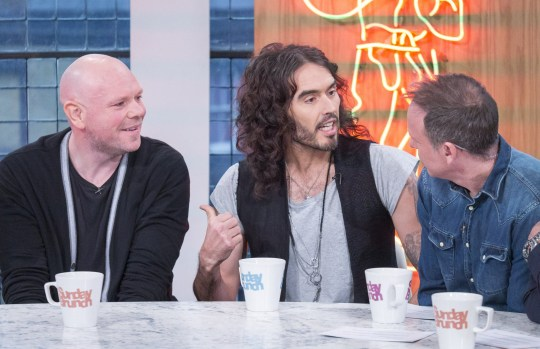 Mandatory Credit: Photo by Steve Meddle/REX/Shutterstock (8269226bk) Tom Kerridge, Russell Brand and Tim Lovejoy 'Sunday Brunch' TV show, London, UK - 05 Feb 2017