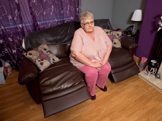 """Online usage fee £75 per image. Christine Douglas from Coatbridge whom bought a sofa from ARGOS but it broke, a Argos employee blamed the damage on the """"very large"""" customer Pictured: Christine at home with the couch in question"""