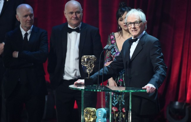 Mandatory Credit: Photo by Jonathan Hordle/REX/Shutterstock (8343355ak) Dave Johns, Ken Loach, Paul Laverty and Rebecca O'Brien - I, Daniel Blake EE BAFTA British Academy Film Awards, Show, Royal Albert Hall, London, UK - 12 Feb 2017