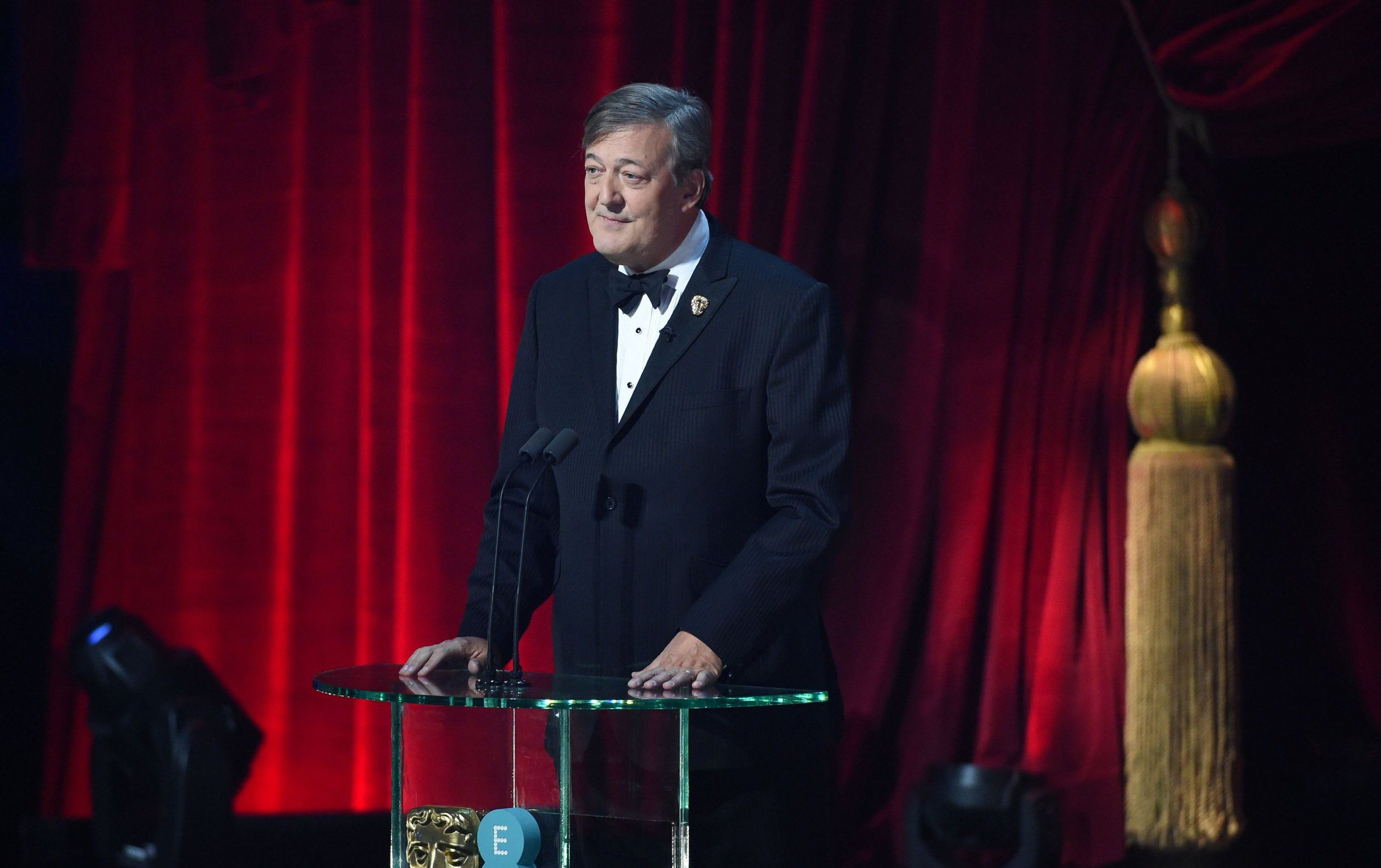 EMBARGOED UNTIL 21.30 SUNDAY 12TH FEB Mandatory Credit: Photo by Jonathan Hordle/REX/Shutterstock (8343355o) Stephen Fry EE BAFTA British Academy Film Awards, Show, Royal Albert Hall, London, UK - 12 Feb 2017