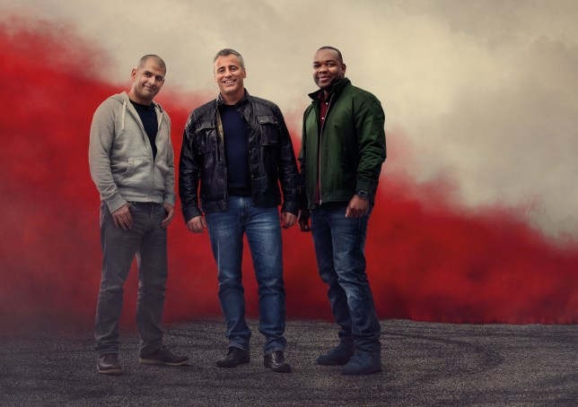 For use in UK, Ireland or Benelux countries only Undated BBC handout image of Top Gear presenters (left to right) Chris Harris, Matt LeBlanc and Rory Reid, ahead of the return of the BBC Two motoring show for a new series in March. PRESS ASSOCIATION Photo. Issue date: Tuesday February 14, 2017. See PA story SHOWBIZ TopGear. Photo credit should read: BBC/PA Wire NOTE TO EDITORS: Not for use more than 21 days after issue. You may use this picture without charge only for the purpose of publicising or reporting on current BBC programming, personnel or other BBC output or activity within 21 days of issue. Any use after that time MUST be cleared through BBC Picture Publicity. Please credit the image to the BBC and any named photographer or independent programme maker, as described in the caption.