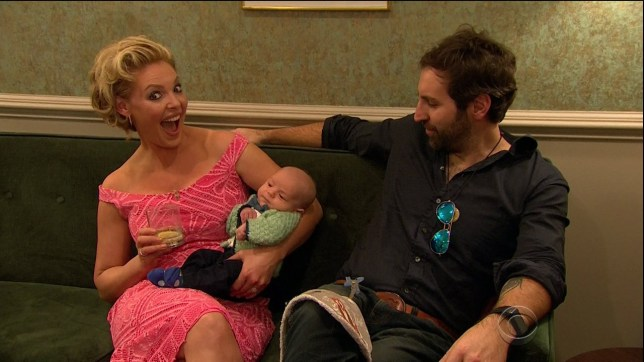 (Picture: CBS/Wenn) Katherine Heigl, Lars Ulrich and Andrew Rannells during an appearance on CBS's 'The Late Late Show with James Corden.' Katherine Heigl's newborn son has his first onscreen debut. Featuring: Katherine Heigl Where: United States When: 15 Feb 2017 Credit: Supplied by WENN.com **WENN does not claim any ownership including but not limited to Copyright, License in attached material. Fees charged by WENN are for WENN's services only, do not, nor are they intended to, convey to the user any ownership of Copyright, License in material. By publishing this material you expressly agree to indemnify, to hold WENN, its directors, shareholders, employees harmless from any loss, claims, damages, demands, expenses (including legal fees), any causes of action, allegation against WENN arising out of, connected in any way with publication of the material.**