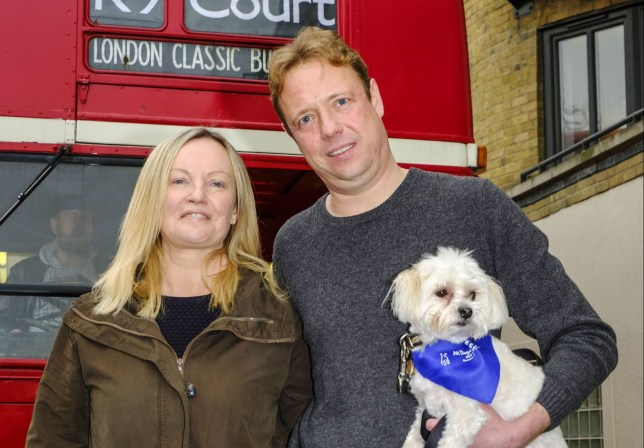 Vinnie a 5KG Morkie dog enroute to a landmark court case in The County Court at Mayor's and City of London Court from his East London home.nnThe potential court costs are £80 000 if owners Gabby & Florian Kuehn loose the case.nnVinnie is accompanied by friends and supporters in a double Routemaster bus to the court along with his owners and defendants Gabrielle and Florian Kuehn.nnWhen they purchased the Limehouse property in 2015 they were assured by the freehold owners they could have pets but the management company have decided otherwise and are trying to have them all evicted,nnfurther info https://www.change.org/p/theresa-may-mp-animal-welfare-legislation
