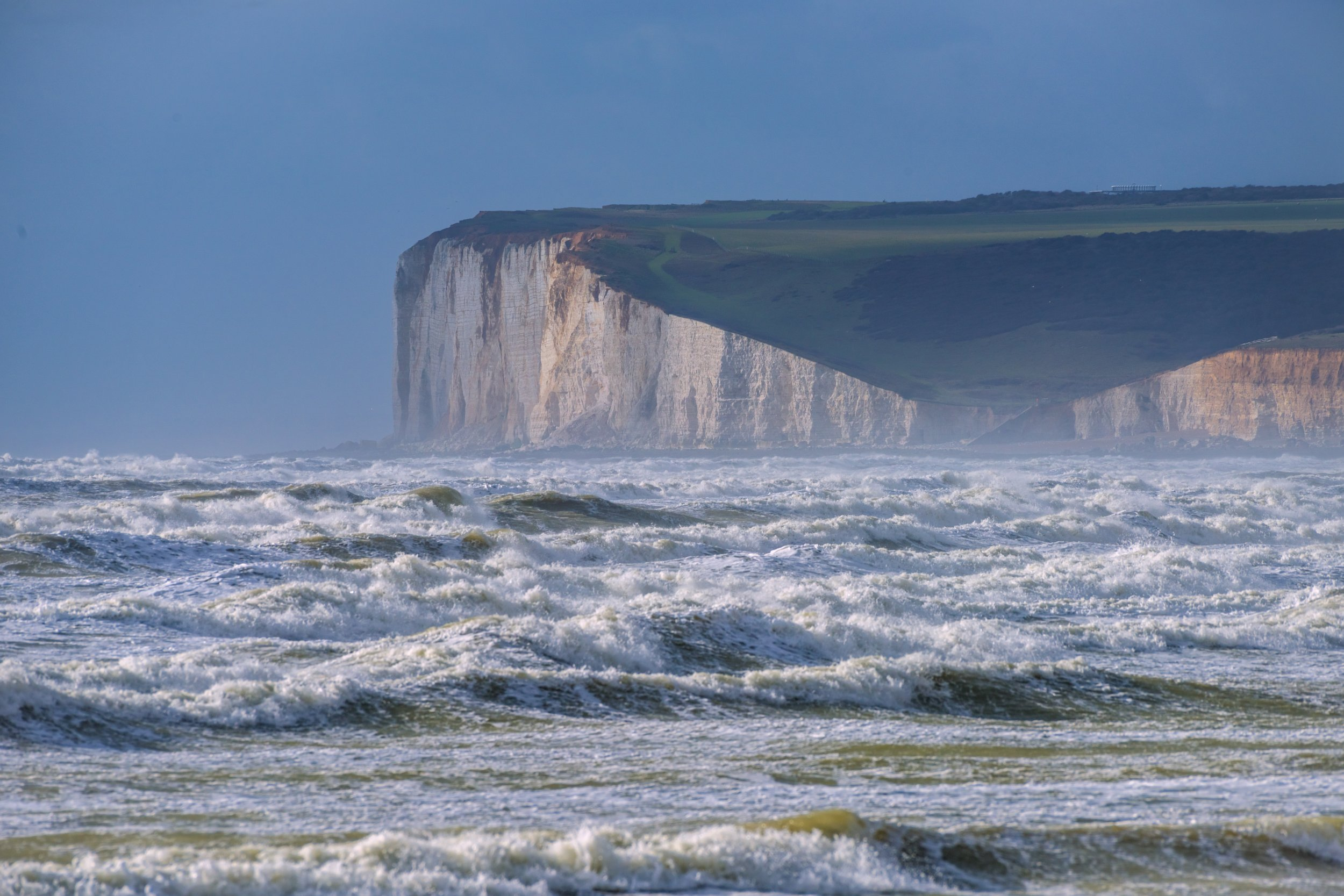 EAST SUSSEX, UNITED KINGDOM - FEBRUARY 23: Tail end of Storm Doris as it clears the south coast at The Birling Gap National Trust Coastal Reserve, near Beachy Head on February 23, 2017 in East Sussex, England. PHOTOGRAPH BY Benjamin Graham / Barcroft Images London-T:+44 207 033 1031 E:hello@barcroftmedia.com - New York-T:+1 212 796 2458 E:hello@barcroftusa.com - New Delhi-T:+91 11 4053 2429 E:hello@barcroftindia.com www.barcroftimages.com